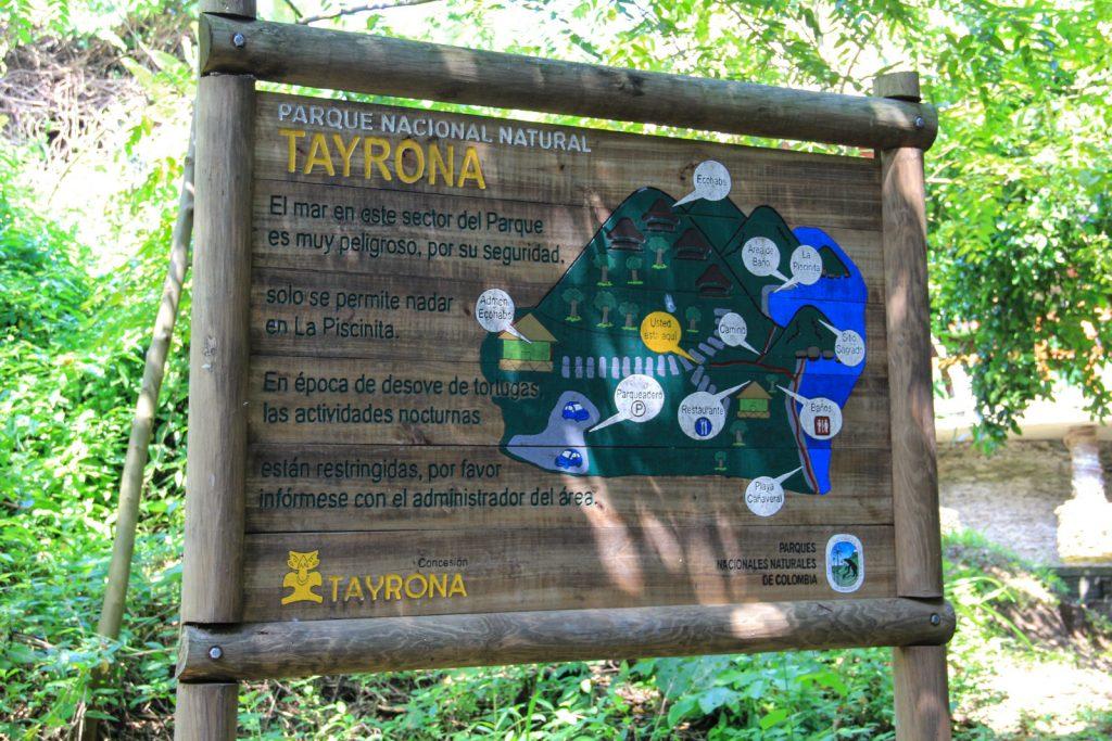Übersichtskarte vom Tayrona Nationalpark
