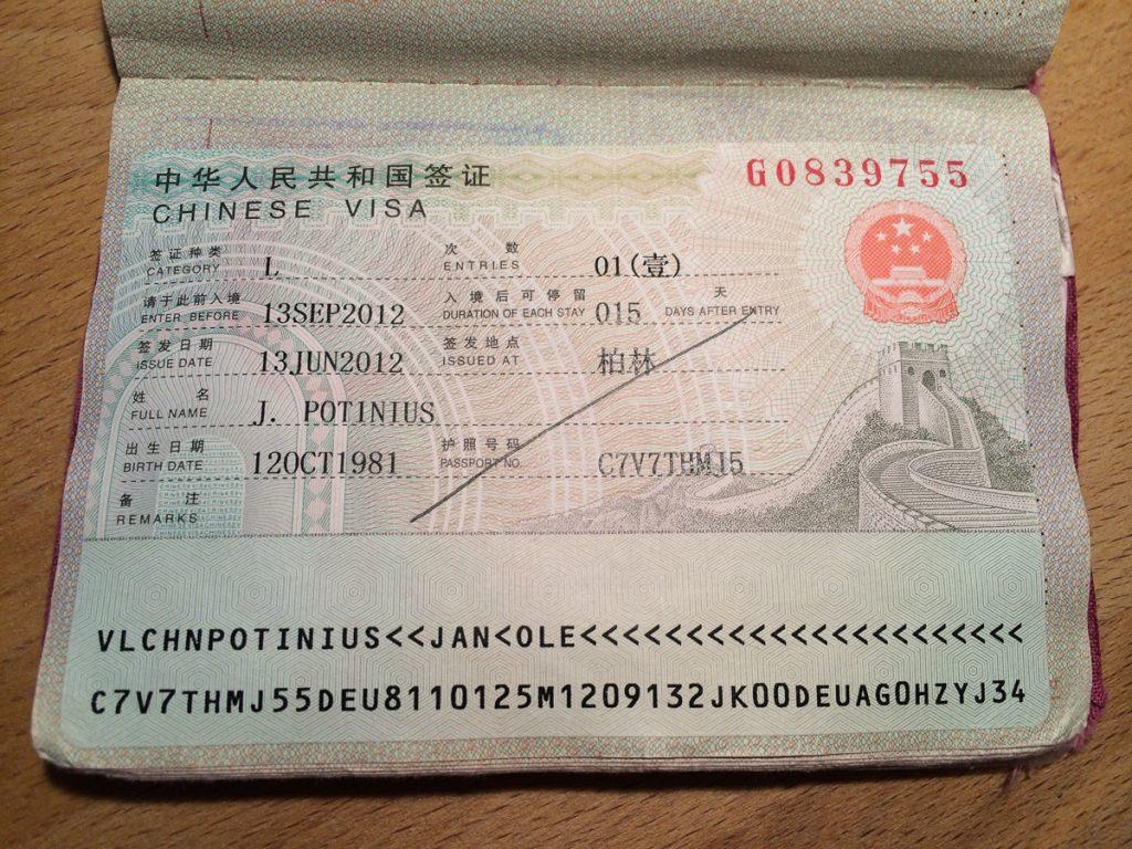 Das begehrte Dokument: Visum für China