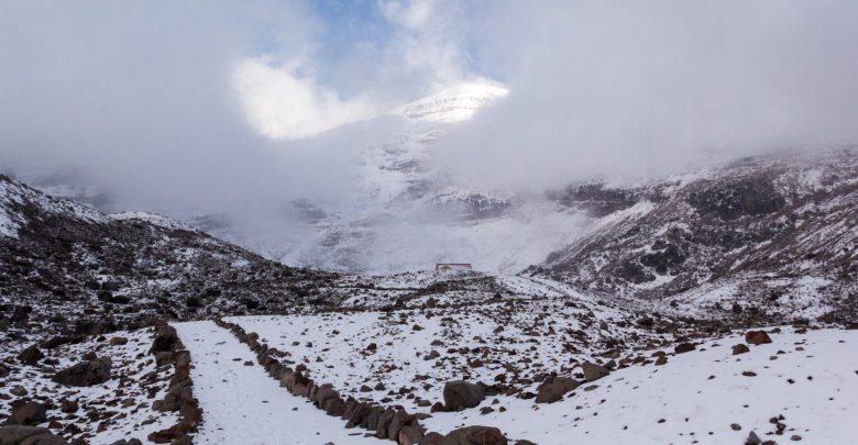 Pfad zur Hütte Refugio Whymper am Chimborazo