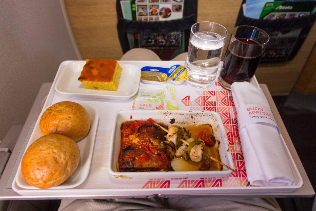 italienisches Essen im Flugzeug