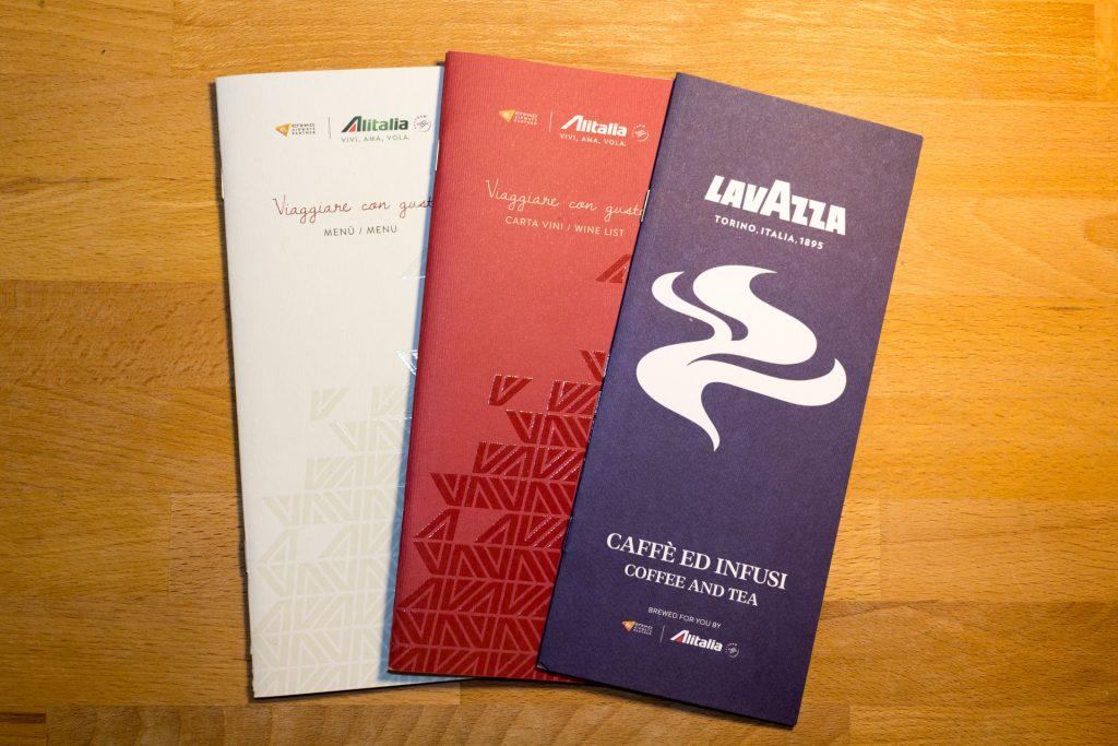 Menükarten von Alitalia