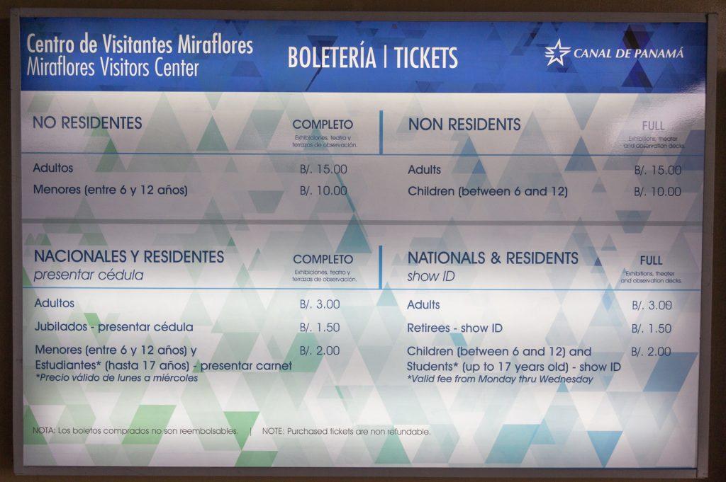 Eintrittspreise der Miraflores-Schleuse