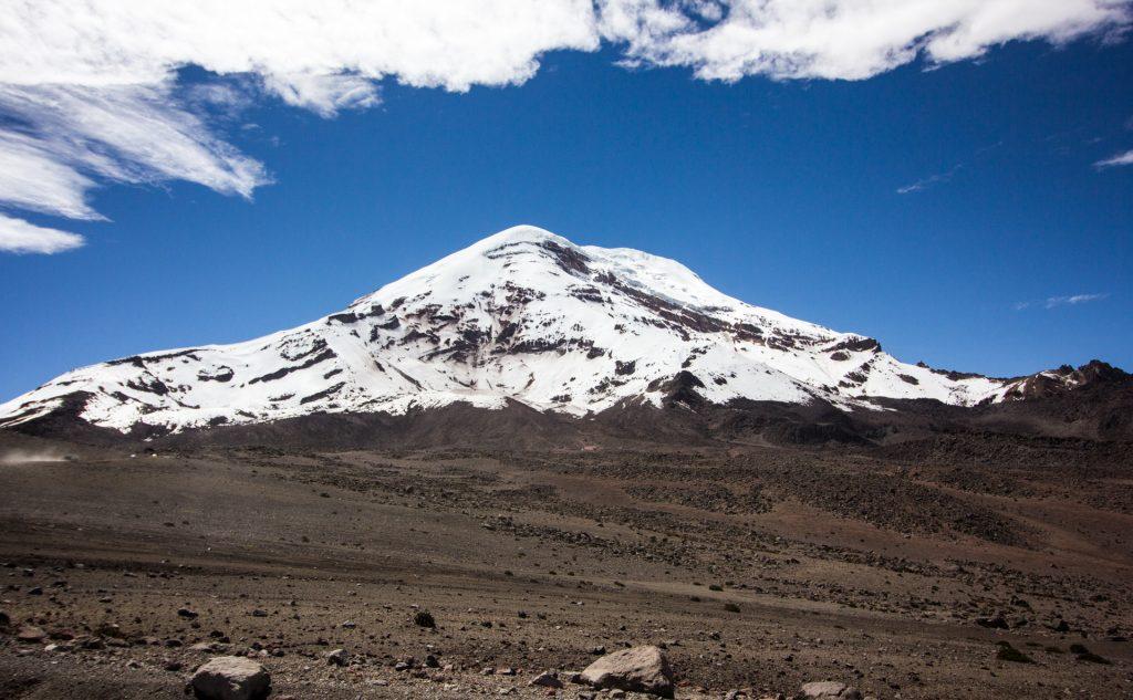 Blick auf den wolkenfreien Chimborazo