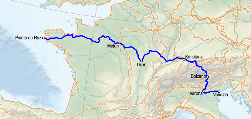 Karte des europäischen Fernwanderweges E5