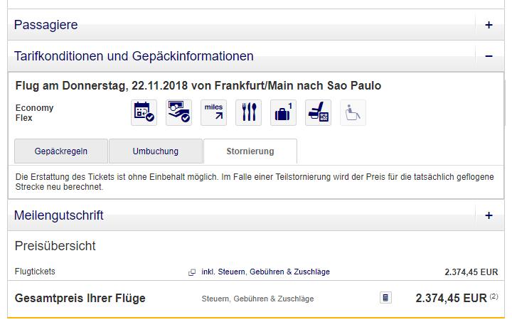 Beispiel für ein stornierbares Ticket der Lufthansa
