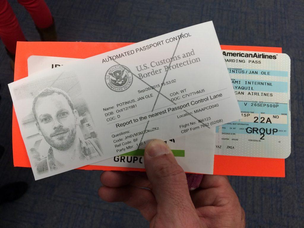 Einreisekarte für die USA