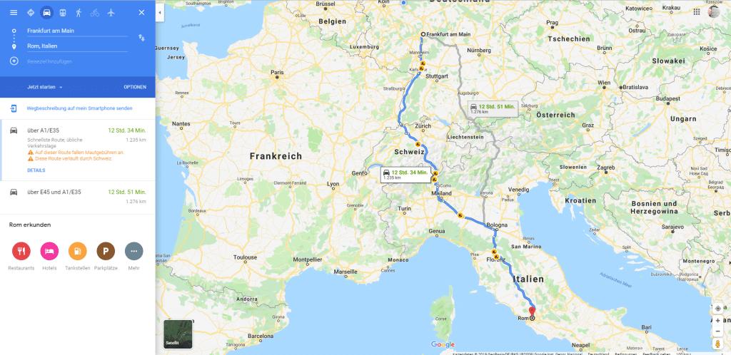 Busreise von Frankfurt nach Rom
