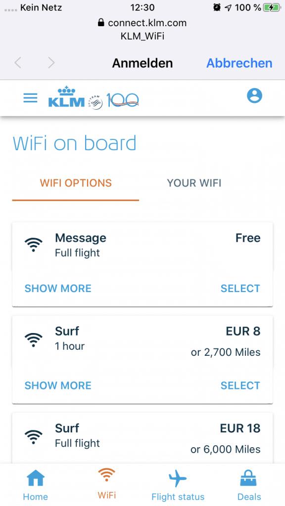 Kostenfreies WLAN an Bord von KLM