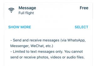 "WLAN-Tarif ""Message"" bei KLM"