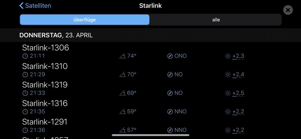 Die Starlink Satelliten lassen sich mit der Sky Guide App ganz einfach finden