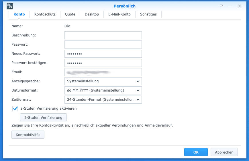Synology 2-Faktor Authentifizierung