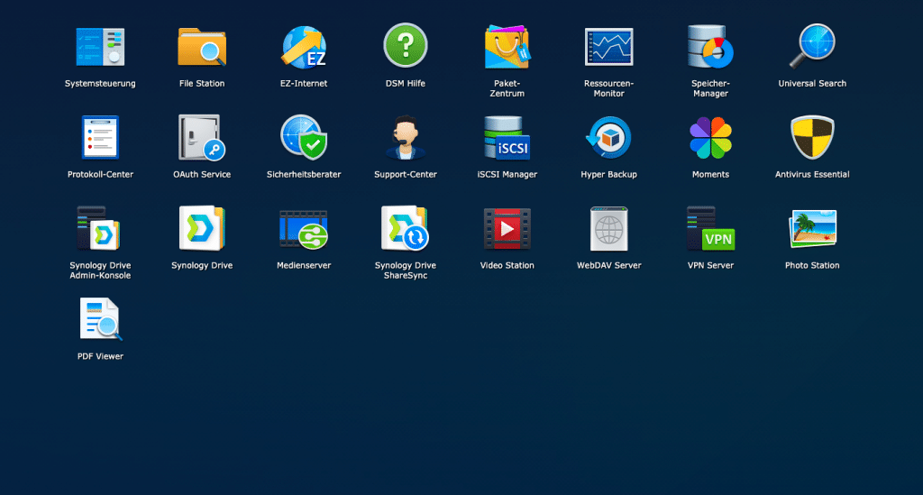 Synology DiskStation Manager - installierte Pakete