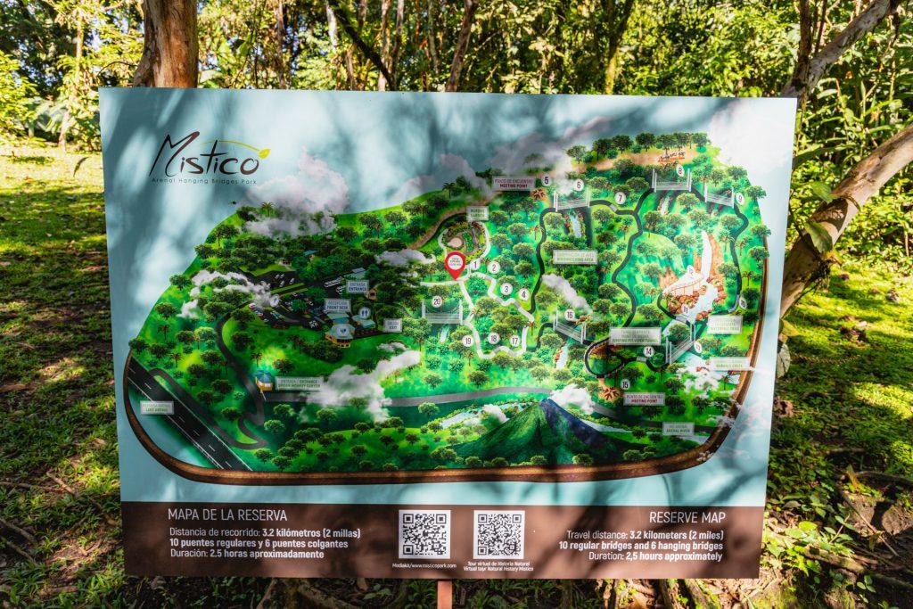 Übersichtskarte vom Mistico Hanging Bridges-Park